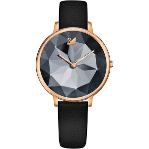 Swarovski Crystal Lake Watch, Leather Strap, Black, Rose Gold Tone 5416009