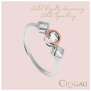 Clogau Welsh Royalty Anniversary White Topaz Ring 3SQAR
