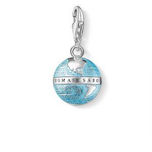Thomas Sabo Charm Pendant, Blue Enamel Globe