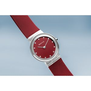 Bering Ladies Classic Watch -  Polished Silver and Red