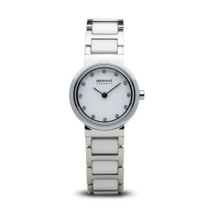 Bering Ladies White Ceramic and Stainless Steel Compact Watch