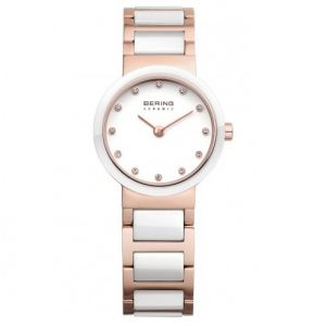 Bering Ladies White Ceramic and Rose Gold Tone Watch