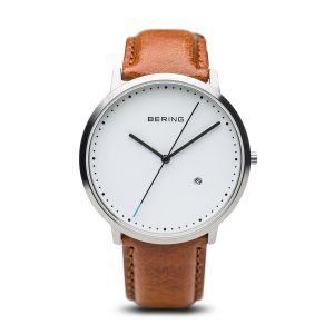 Bering Mens Classic Brushed Silver Brown Leather Strap Watch