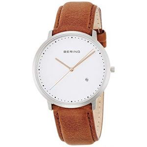 Bering Mens 'Classic' Brushed Silver Brown Leather Strap Watch