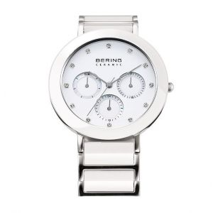 Bering Ladies White Ceramic and Stainless Steel Chrono Watch