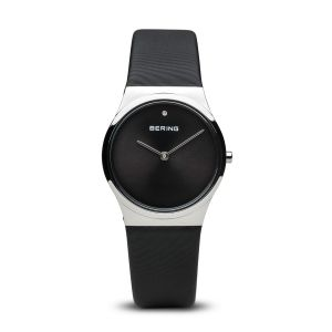 Bering Ladies Classic Polished Silver and Black Watch