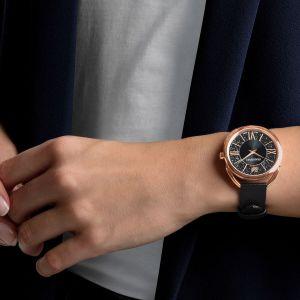Swarovski Crystalline Glam  Watch, Leather Strap, Back, Rose Gold Tone