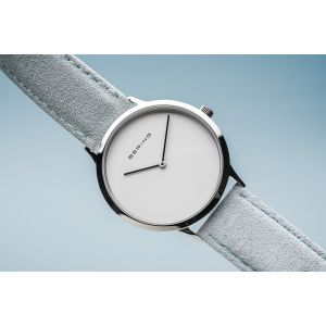 Bering Unisex Classic Polished Silver Watch, Blue