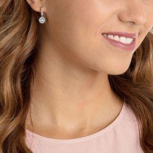 Swarovski Oxygen Pierced Earrings, Green, Rhodium Plating