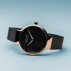 Bering Ladies Max Rene Polished Rose Gold and Black Watch