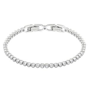 Emily Bracelet, White, Rhodium Plating