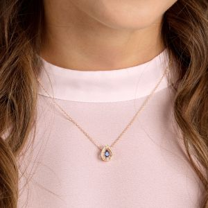 Swarovski Sparkling Dance Pear Necklace, Blue, Rose Gold Plating