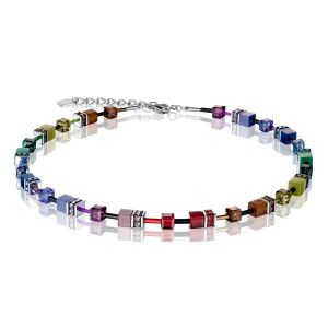 Coeur De Lion Multicolour Rainbow Dark GEOCUBE Necklace