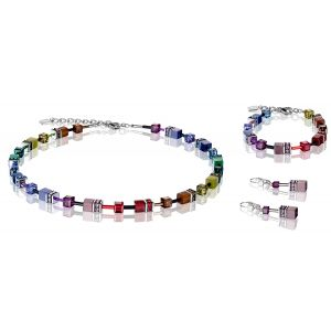 Coeur De Lion Multicolour Rainbow Dark GEOCUBE Pierced Earrings