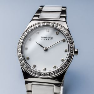 Bering Ladies White Ceramic and Stainless Steel Swarovski Set Watch