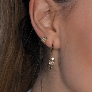 Kit Heath Blossom Eden Mini Wrapped Leaf Gold Plate Stud Earings