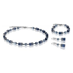 Coeur De Lion Navy Blue GEOCUBE Pierced Earrings