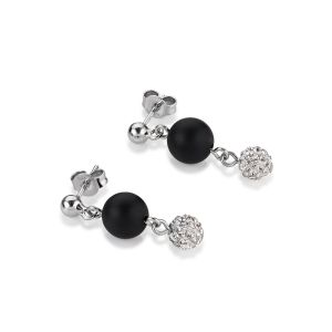 Coeur De Lion Onyx and Crystal Pavé Stud Earrings