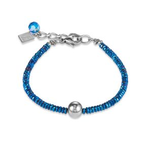 Coeur De Lion Hematite Blue and Stainless Steel Bracelet