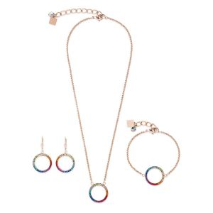 Coeur De Lion Rose Gold and Rainbow Necklace