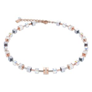 Coeur De Lion White Crystal and Howlite GEOCUBE Necklace in Rose Gold