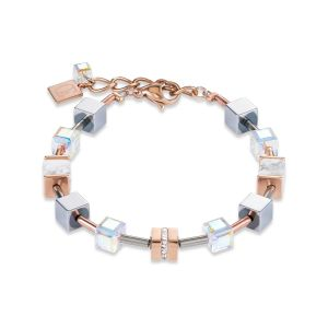 Coeur De Lion White Crystal and Howlite GEOCUBE Bracelet in Rose Gold