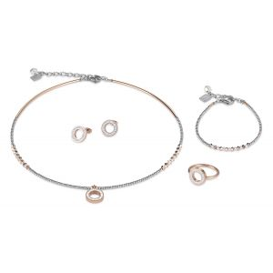 Coeur De Lion Rose Gold and Silver Crystal Necklace