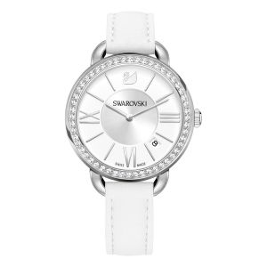 Swarovski Aila Day Watch, Leather Strap, White, Silver Tone