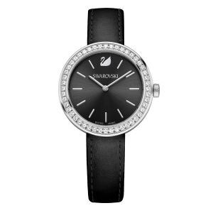 Swarovski Daytime Watch, Black, Leather Strap