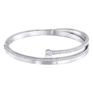 Fresh Bangle, White, Rhodium plating