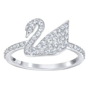 Swarovski Iconic Swan Ring, White, Rhodium Plated