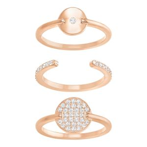Swarovski Ginger Rose Gold Plated Triple Ring Set