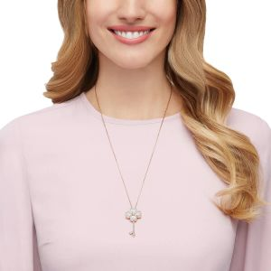 Swarovski Deary Key Pendant, White, Rose Gold Plating