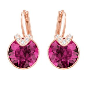 Swarovski Bella V Pierced Earrings, Fuchsia, Rose Gold Plating