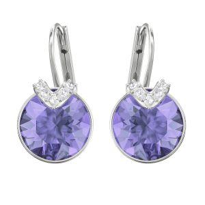 Swarovski Bella V Pierced Earrings, Violet, Rhodium Plating