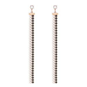 Swarovski Subtle Pierced Earrings, Black, Rose gold plating