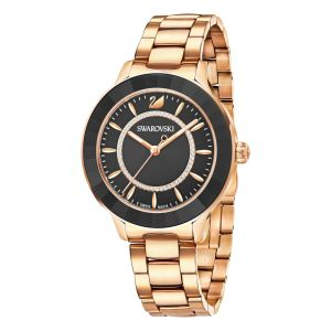 Swarovski Octea Lux Watch, Metal Bracelet, Black, Rose Gold Tone