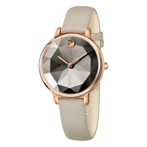 Swarovski Crystal Lake Watch, Leather Strap, Grey, Rose Gold Tone