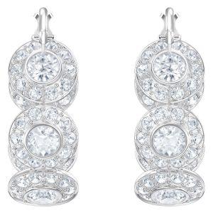 Swarovski Angelic Hoop Pierced Earrings, White, Rhodium Plating