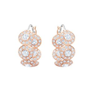 Angelic Hoop Pierced Earrings, White, Rose Gold Plating