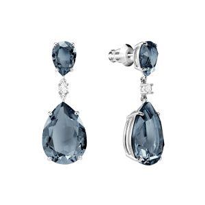 Swarovski Vintage Drop Pierced Earrings, Teal, Rhodium plating