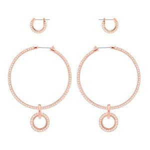 Swarovski Stone Pierced Earring Set, Pink, Rose Gold Plating