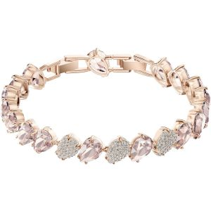 Swarovski Mix Bracelet, Pink, Rose Gold Plating