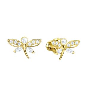 Swarovski Magnetic Dragonfly Stud Pierced Earrings, Multicolour, Gold plating