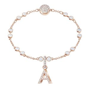 Swarovski Remix Collection Charm A, White, Rose gold plating