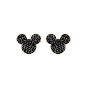 Swarovski Mickey & Minnie Pierced Earring, Black, Rose Gold Plating