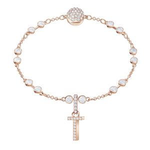 Swarovski Remix Collection Charm T, White, Rose gold plating