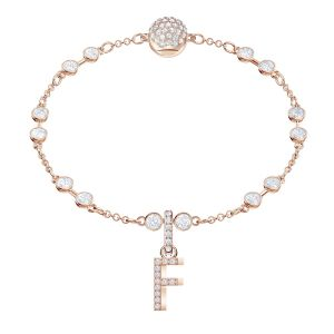 Swarovski Remix Collection Charm F, White, Rose Gold Plating