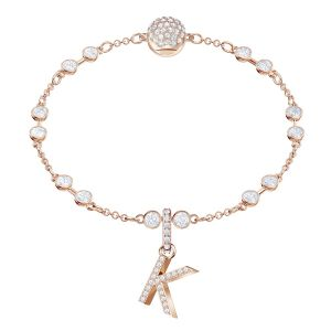 Swarovski Remix Collection Charm K, White, Rose gold plating