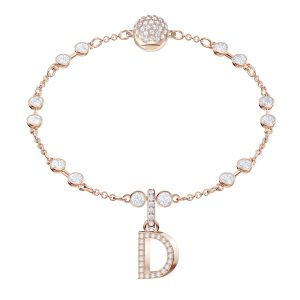 Swarovski Remix Collection Charm D, White, Rose gold plating